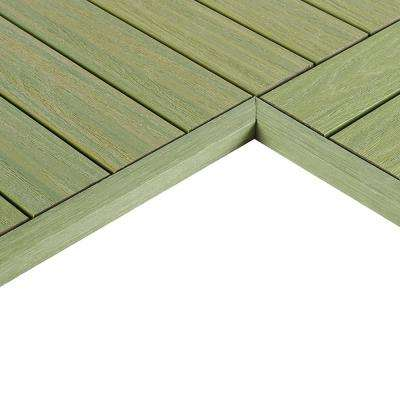 1/6 ft. x 1 ft. Quick Deck Composite Deck Tile Inside End Corner Fascia in Irish Green (2-Pieces/box)