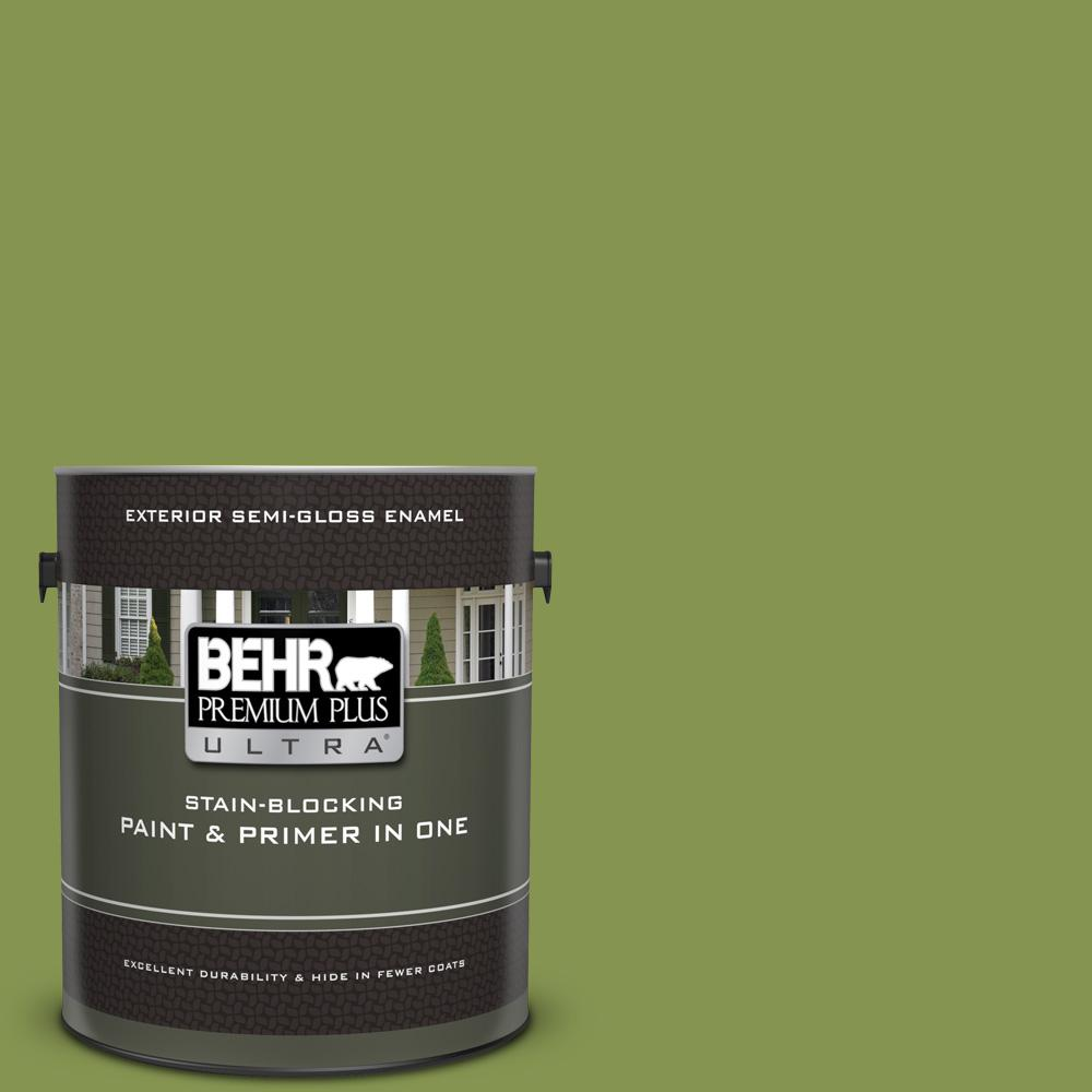 Behr Premium Plus Ultra 1 Gal M360 6 Bold Avocado Semi Gloss Enamel Exterior Paint And Primer In One 585301 The Home Depot