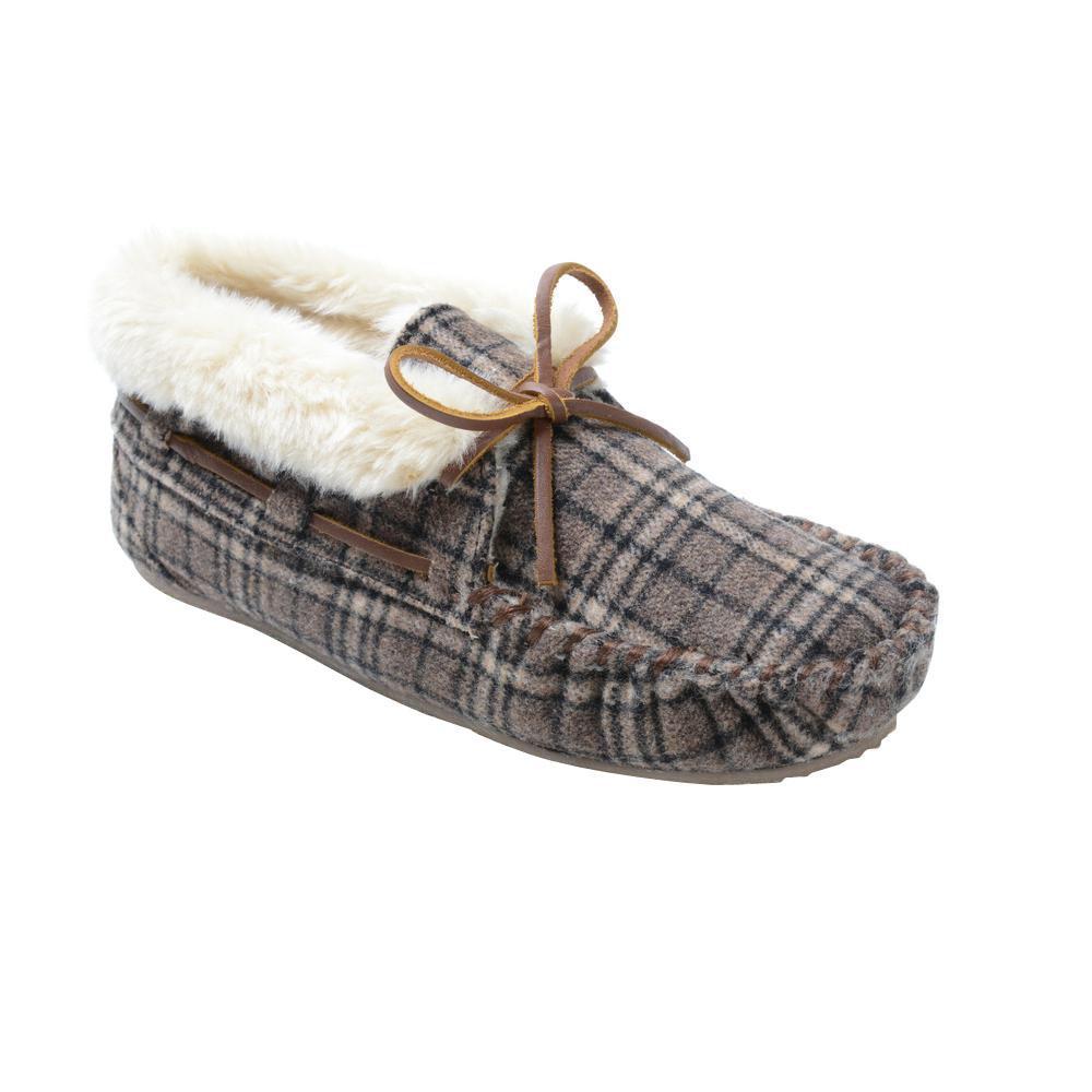 Brown Plaid Flannel Slipper-44812
