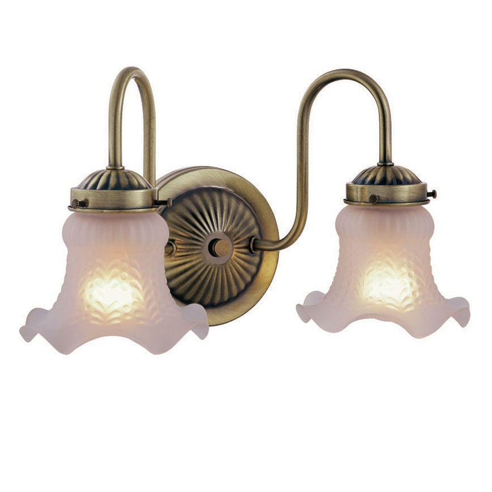 Hampton Bay 2-Light Antique Brass Vanity Light - Hampton Bay 2-Light Antique Brass Vanity Light-WB0329 - The Home Depot