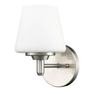 Paige 1-Light Satin Nickel Sconce with Frosted Glass Shade