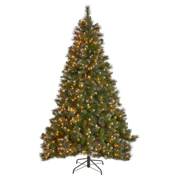 Noble House 7 Ft Pre Lit Mixed Spruce Hinged Artificial Christmas Tree With Clear Lights Glitter Branches Berries And Pinecones 54707 The Home Depot