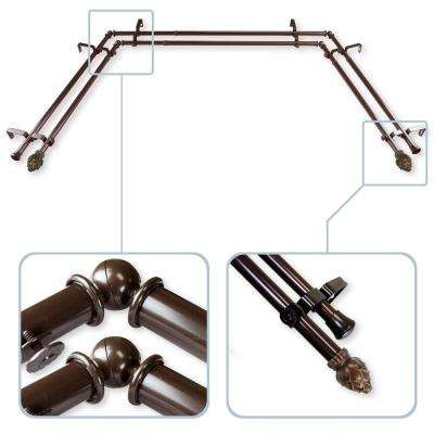 Bud 13/16 in. Bay Window Double Curtain Rod in Cocoa