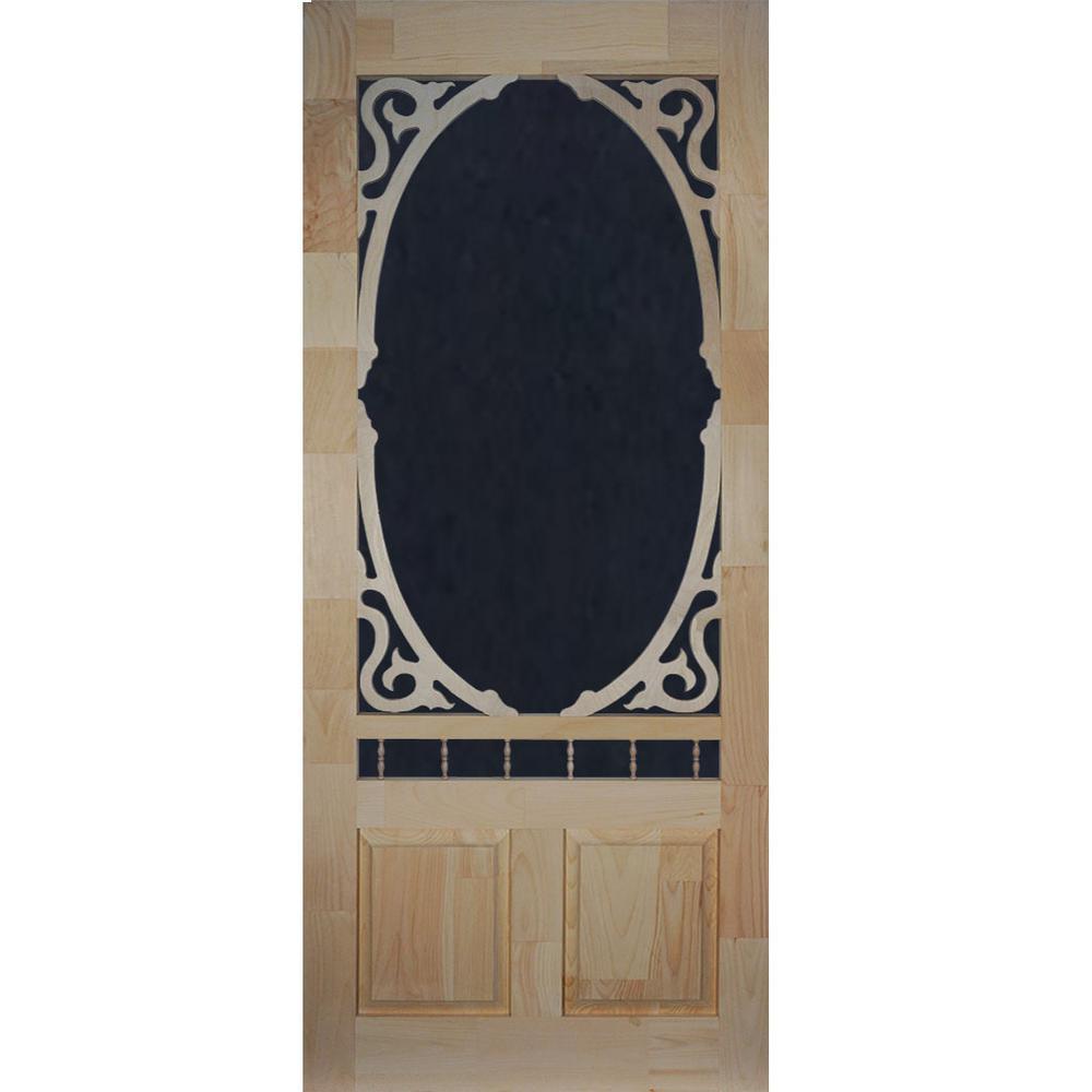 32 in. x 80 in. Clarington Unfinished Wood Screen Door