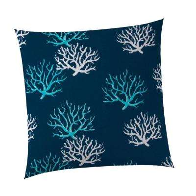 Reef Square Outdoor Throw Pillow in Royal