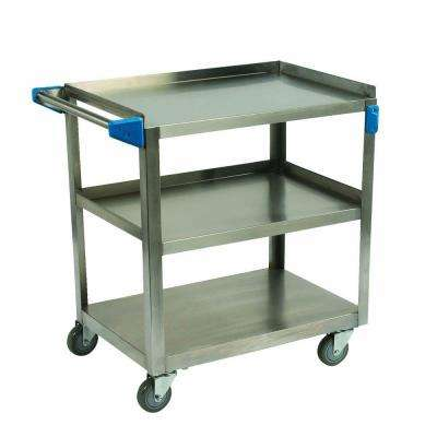 21 in. x 35 in. 500 lb. Capacity 3 Shelf Stainless Steel Utility Cart