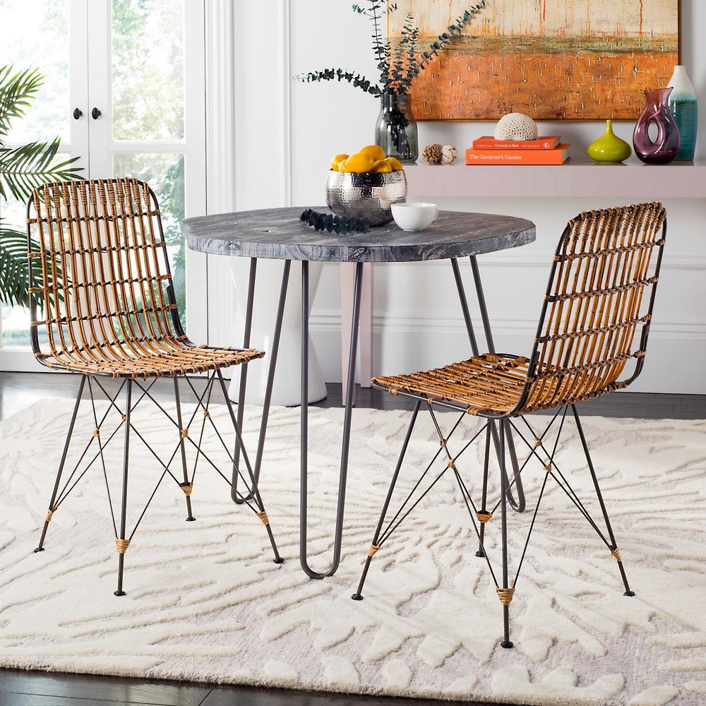 Safavieh Minerva Natural Brown Wash Wicker Dining Chair (Set Of 2)