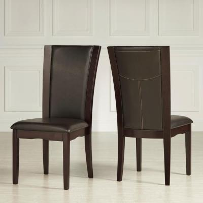 Dark Brown Bicast Vinyl Side Chair (Set of 2)