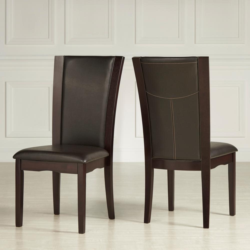 Dark Brown Bicast Vinyl Side Chair (Set of 2)