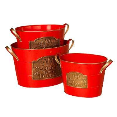 S/3 Red Christmas Buckets