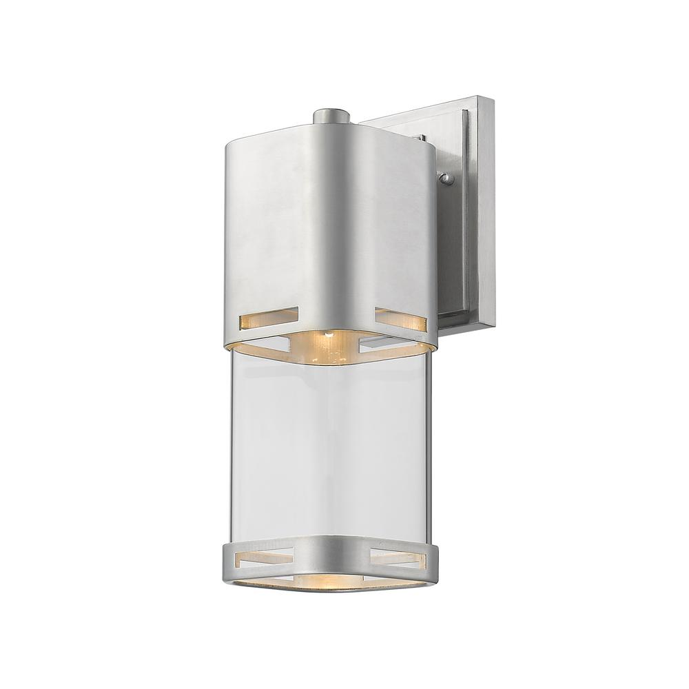 Filament Design Noya 75-Watt Equivalent Outdoor Brushed Aluminum Integrated LED Wall Mount Sconce with Clear Glass Shade