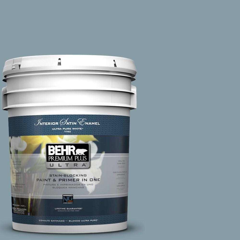 5-gal. #BNC-18 Aqua Gray Satin Enamel Interior Paint