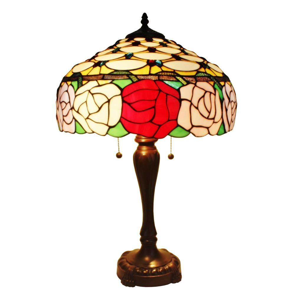 Amora Lighting 25 In Tiffany Style Roses Table Lamp Am033tl16 The