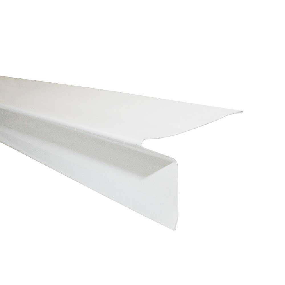 Gibraltar Building Products 2 11 16 In X 2 1 2 In X 10 Ft Galvanized Steel Eave Drip Flashing In White 11454 The Home Depot
