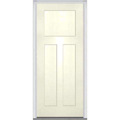 32 in. x 80 in. Left-Hand Inswing Craftsman 3-Panel Shaker Classic Painted Fiberglass Smooth Prehung Front Door