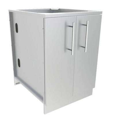 Designer Series 304 Stainless Steel 24 in. x 34.5 in. x 28.25 in. Full Height Double Door Base Cabinet with Door Pockets
