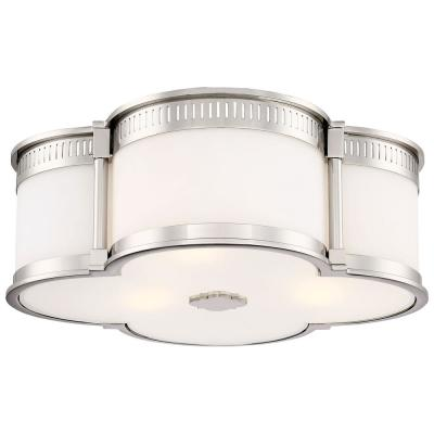 100-Watt Equivalence 16.25 in. Polished Nickel Integrated LED Flushmount