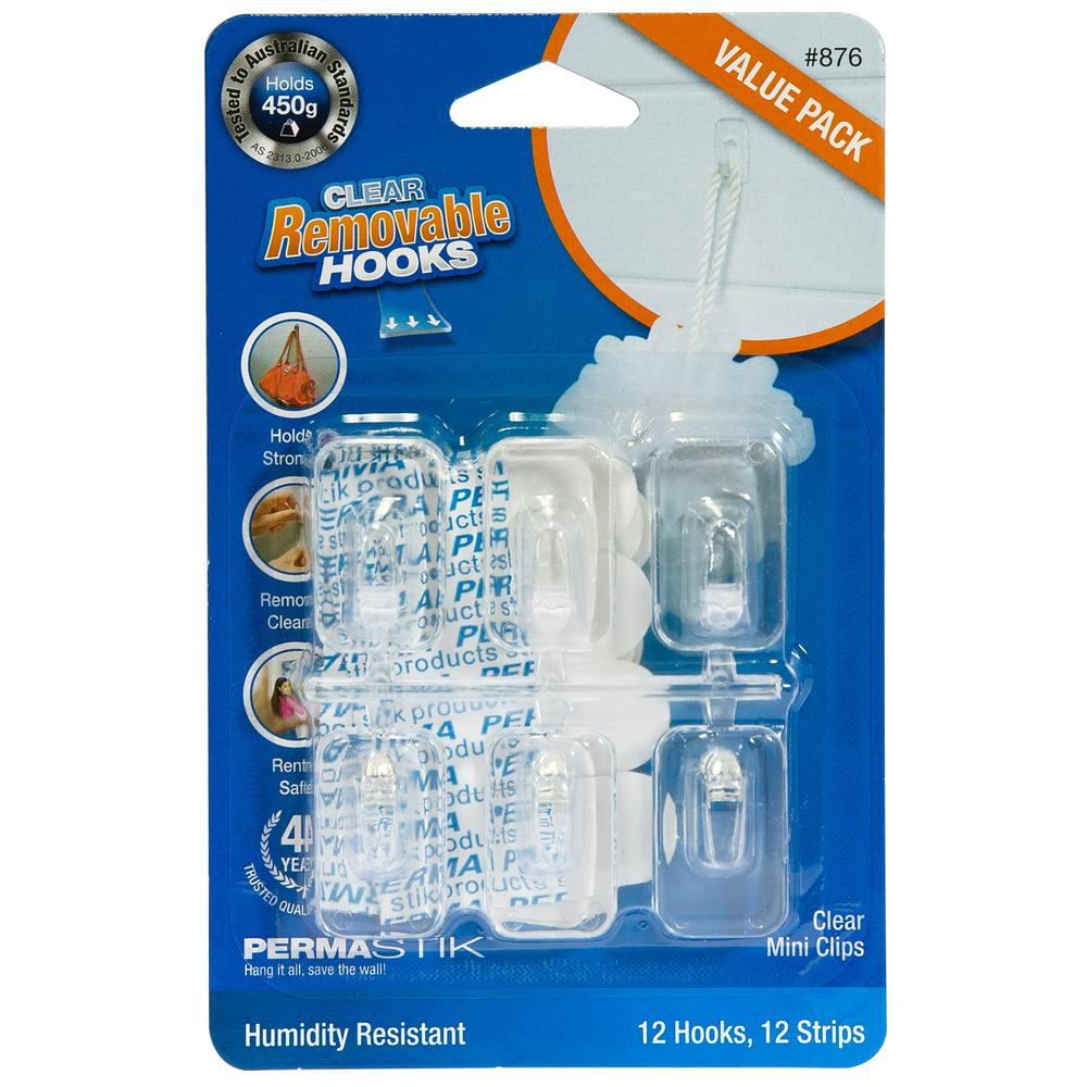 Clear Mini Utility Hooks Value, Removable Adhesive Strips, Humidity Resistant (12-Pack)