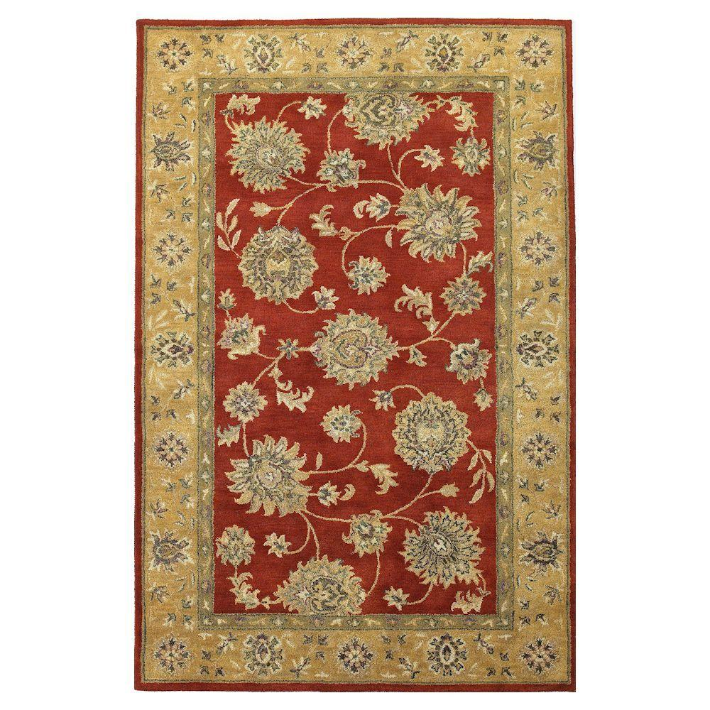 Kas Rugs Elegant Kashan Red/Gold 5 ft. x 8 ft. Area Rug-DISCONTINUED