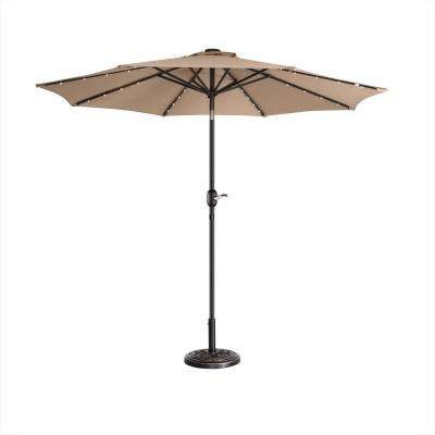 9 ft. Steel Market Solar Tilt LED Lighted Patio Umbrella in Beige