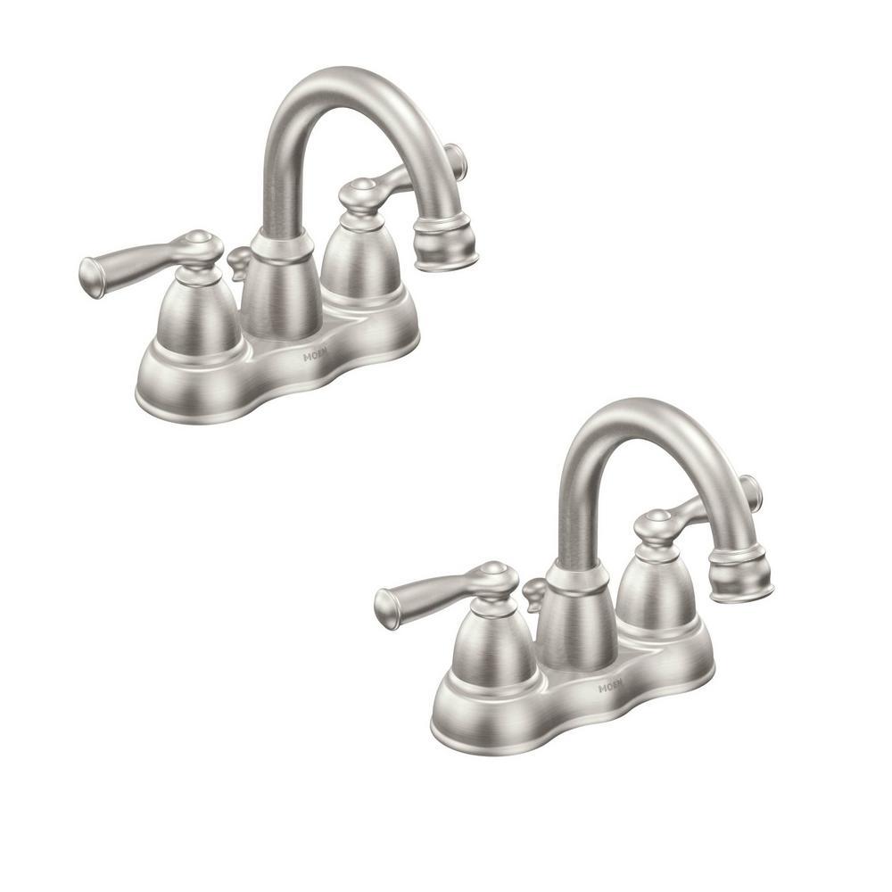 Banbury 4 in. Centerset 2-Handle Bathroom Faucet in Spot Resist Brushed Nickel (2-Pack)