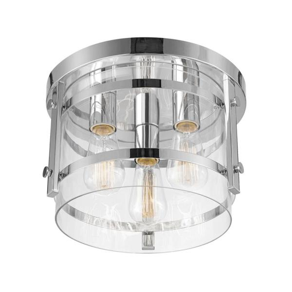 Wexford 3-Light Chrome Semi-Flush Mount Ceiling Light with Clear Glass