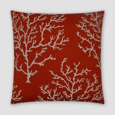 Coral Craze Red Feather Down 18 in. x 18 in. Standard Decorative Throw Pillow