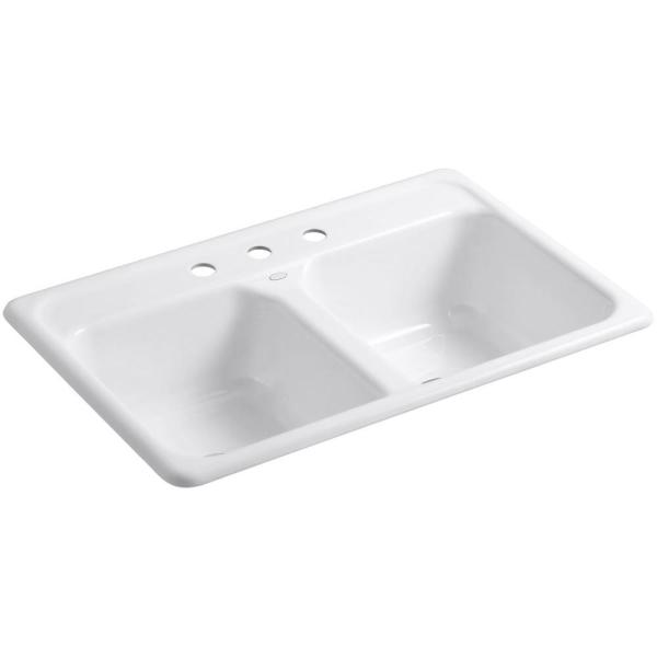Delafield Drop-In Cast Iron 33 in. 3-Hole Double Bowl Kitchen Sink in White