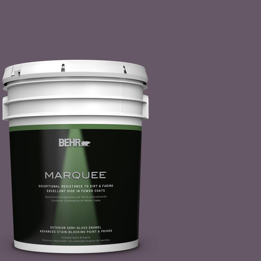 BEHR MARQUEE 5-gal. #PPU17-5 Preservation Plum Semi-Gloss Enamel Exterior Paint