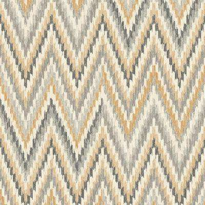 Metallic Static Zigzag Abstract Brown and Orange Wallpaper