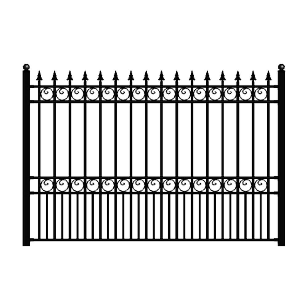 London Style 5 ft. x 8 ft. Black Iron Fence Panel