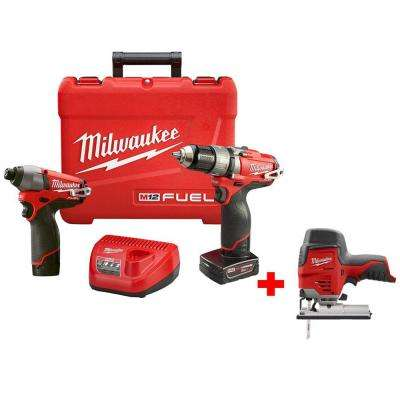 M12 FUEL 12-Volt Cordless Lithium-Ion Brushless 1/2 in. Hammer Drill/Impact Combo Kit with Free M12 Compact Jig Saw