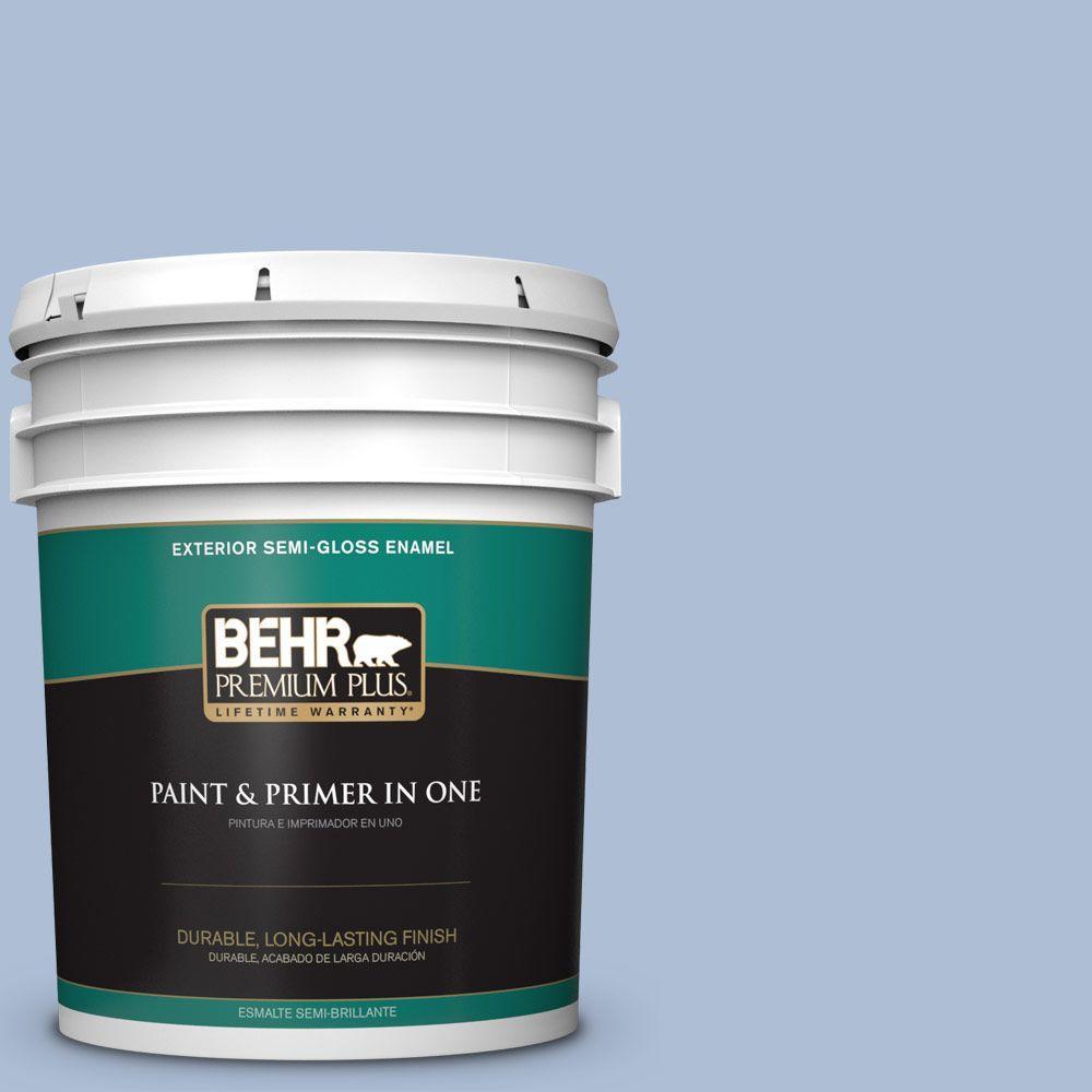 5-gal. #580E-3 Sweet Blue Semi-Gloss Enamel Exterior Paint