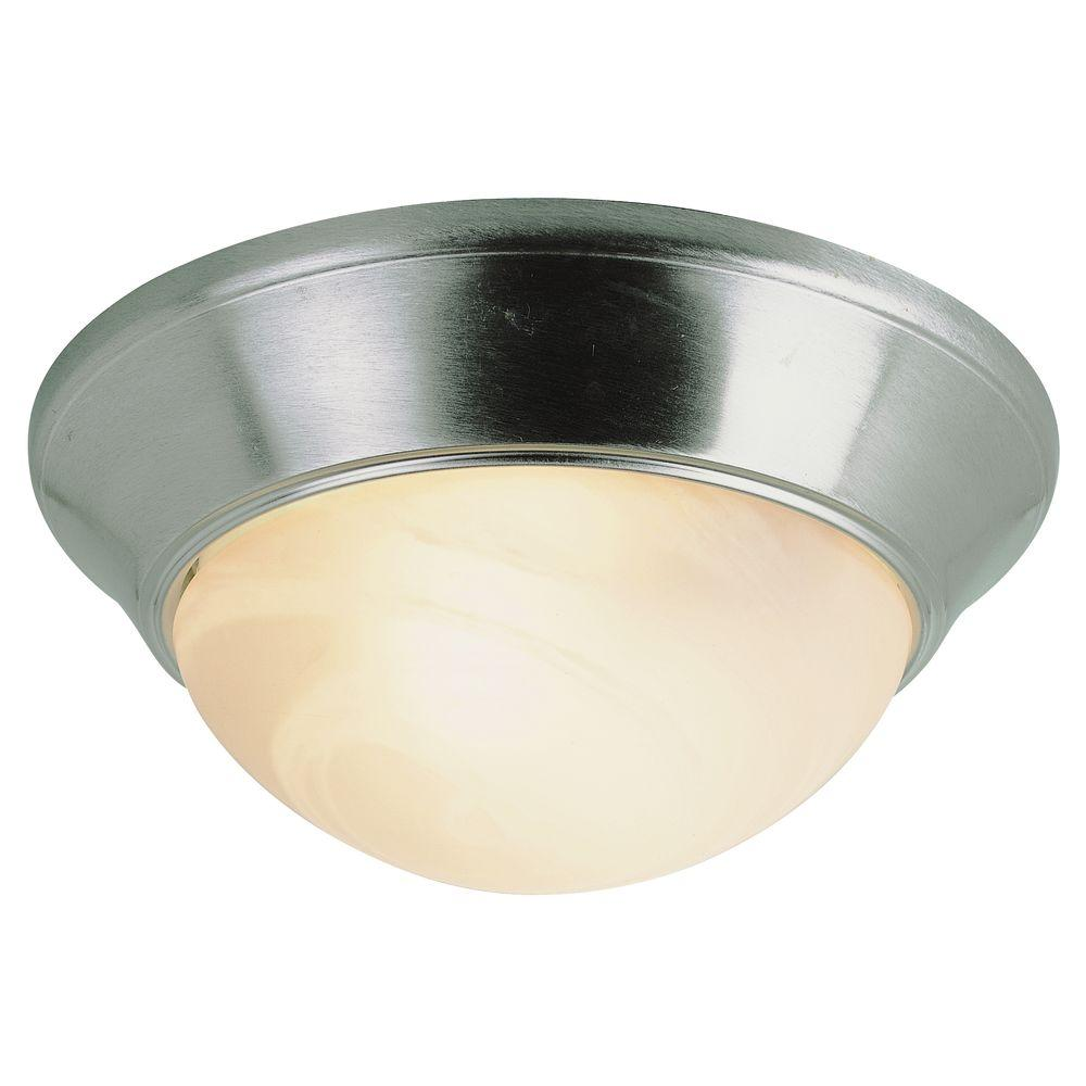 Bel Air Lighting Stewart 2-Light Brushed Nickel Incandescent Ceiling Flush Mount