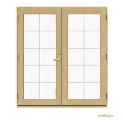 72 in. x 80 in. W-2500 Vanilla Clad Wood Right-Hand 10 Lite French Patio Door w/Unfinished Interior