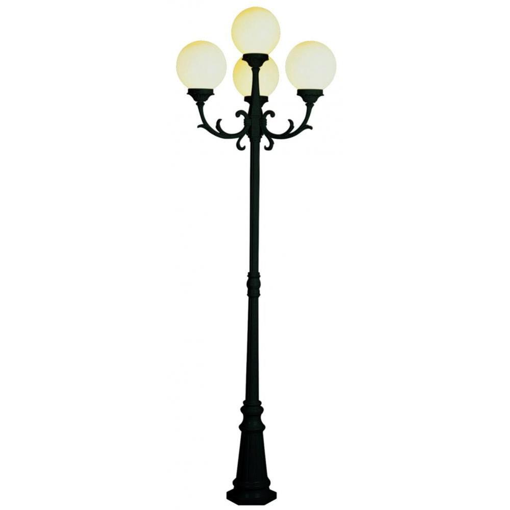Bel Air Lighting Cabernet Collection 4-Light 89 in. Outdoor Black Gold Pole Lantern with White Opal Shade