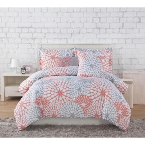 Project Generation Stella Coral/Grey 4-Piece Twin XL Comforter Set by