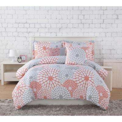 Project Generation Stella Coral/Grey 4-Piece Twin XL Comforter Set