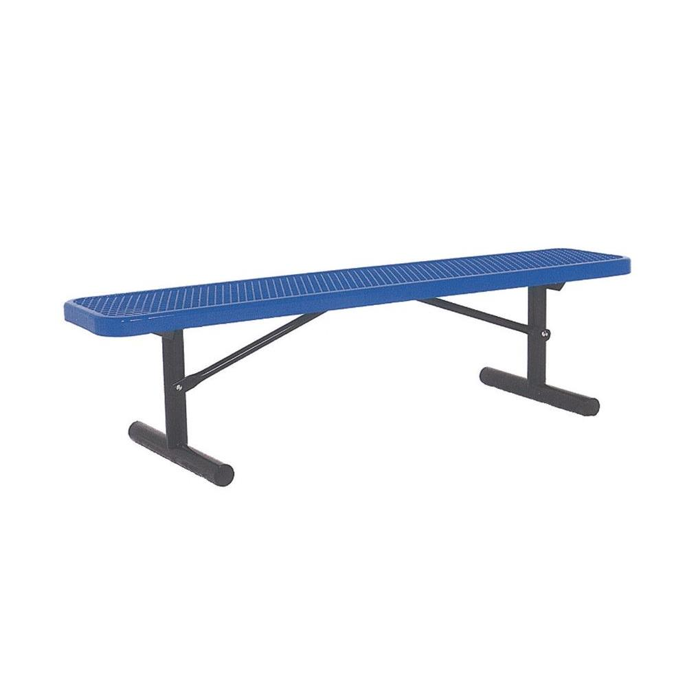 Ultra Play 6 ft. Diamond Blue Portable Commercial Park Bench without Back Surface Mount