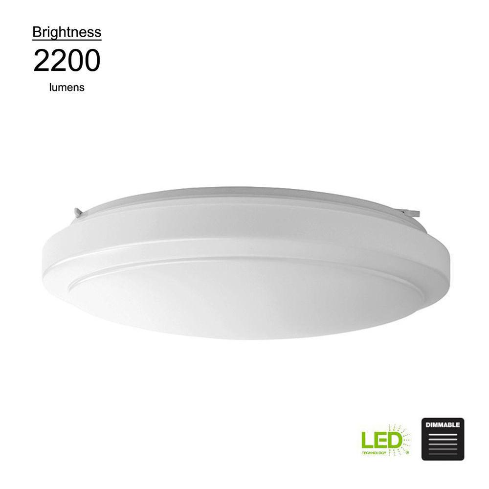 Hampton Bay Functional Style 20 in. Round White 150 Watt Equivalent Integrated LED Flush Mount (Bright/Cool White, Dimmable)
