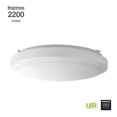 Functional Style 20 in. Round White 150 Watt Equivalent Integrated LED Flush Mount (Bright/Cool White, Dimmable)