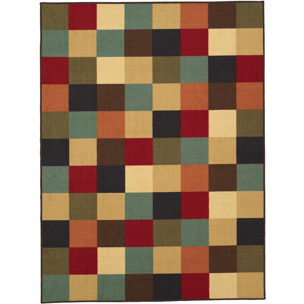 Ottohome Collection Contemporary Checkered Design Multicolor 3 ft. X 5 ft. Area Rug