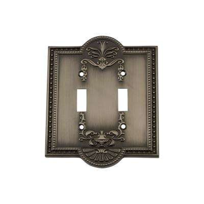 Meadows Switch Plate with Double Toggle in Antique Pewter