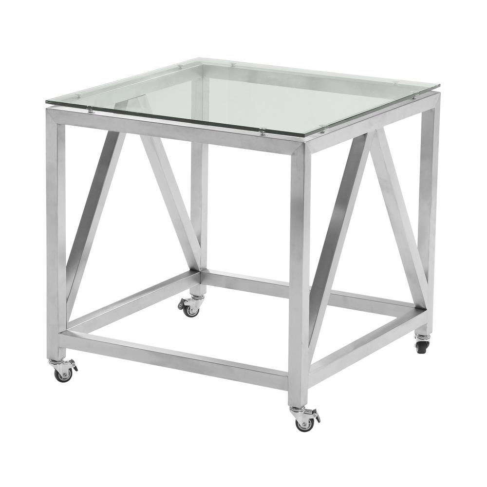 Gentil Armen Living Armen Living Enessa Tempered Glass Top Contemporary Square End  Table With Wheels In Brushed
