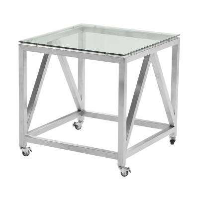 Armen Living Enessa Tempered Glass Top Contemporary Square End Table with Wheels in Brushed Stainless Steel Finish