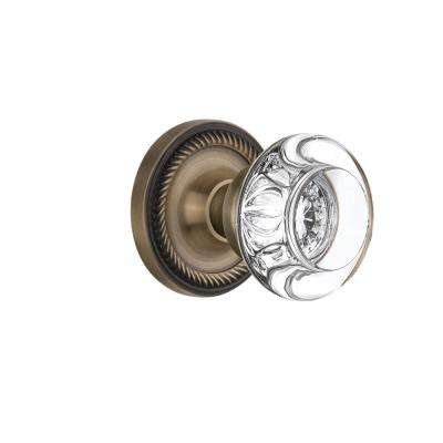 Rope Rosette Single Dummy Round Clear Crystal Glass Door Knob in Antique Brass
