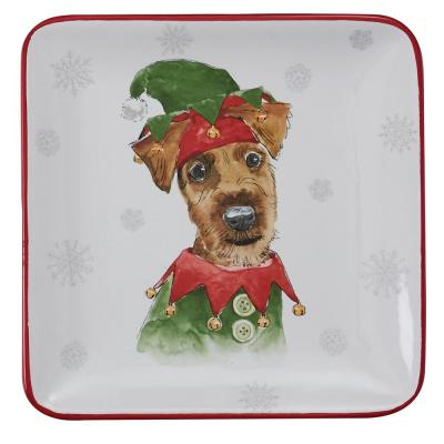 Holiday Paws Multicolor Salad Plate (Set of 4)