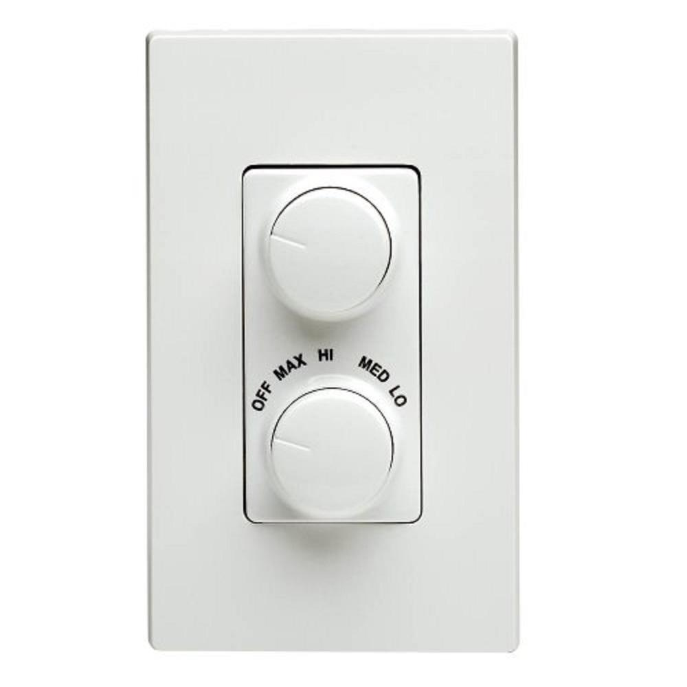 Leviton Decora 300 Watt Dual Rotary Dimmer And Fan Control White