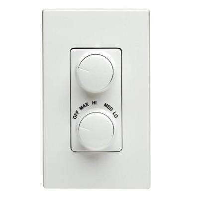 Decora 300-Watt Dual Rotary Dimmer and Fan Control - White