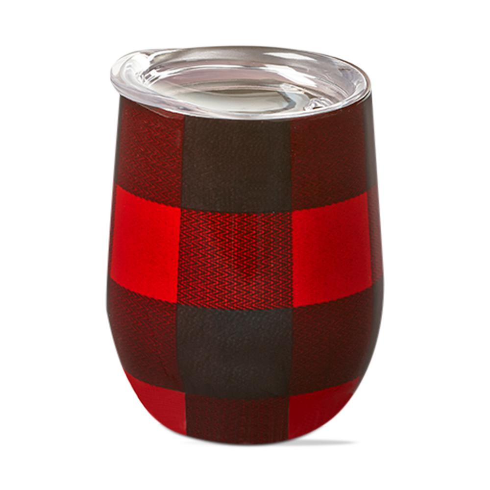 Red stainless steel stemless wine glass